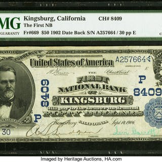 Kingsburg, CA - $50 1902 Date Back Fr. 669 The First NB Ch. # (P)8409