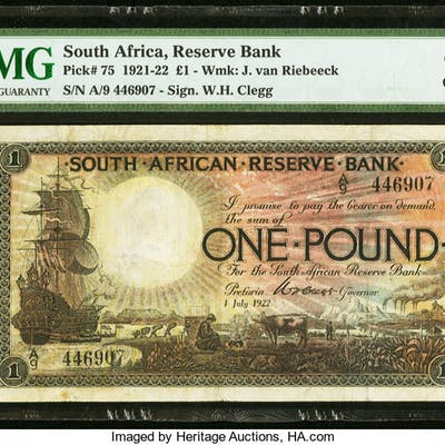 South Africa South African Reserve Bank 1 Pound 1.7.1922 Pick 75 PMG