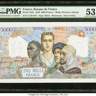 France Banque de France 5000 Francs 27.4.1944 Pick 103b PMG About