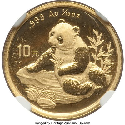 """People's Republic gold """"Small Date"""" Panda 10 Yuan (1/10 oz) 1998 MS69 NGC,..."""
