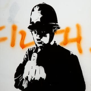 Banksy (British, b. 1974) Rude Copper, 2002 Screenprint and spray