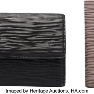 Louis Vuitton Set of Two: Black & Lilac Epi Leather Wallets Condition: