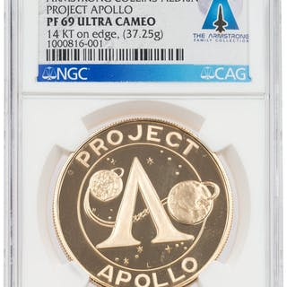 """Apollo 11 PF69 ULTRA CAMEO NGC 14K Gold """"Project Apollo"""" Medal Directly"""