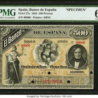 Spain Banco de Espana 500 Pesetas 1.1.1884 Pick 27s Specimen PMG Uncirculated
