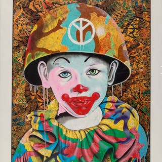 Ron English (American, b. 1959) Clown Camo Boy, 2011 Screenprint in