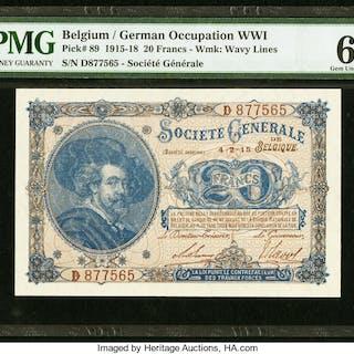 Belgium Societe Generale de Belgique 20 Francs 4.2.1915 Pick 89 PMG
