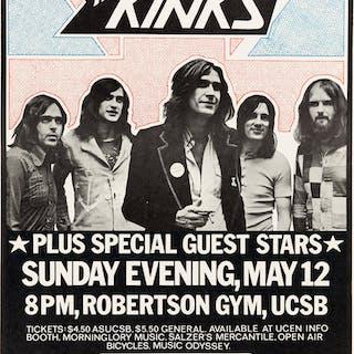 The Kinks Santa Barbara Concert Poster (Associated Students UCSB, 1974). ...