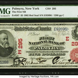 Palmyra, NY - $5 1902 Red Seal Fr. 587 The First NB Ch. # (E)295 PMG
