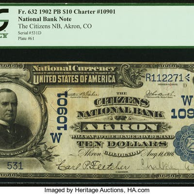 Akron, CO - $10 1902 Plain Back Fr. 632 The Citizens NB Ch. # (W)10901