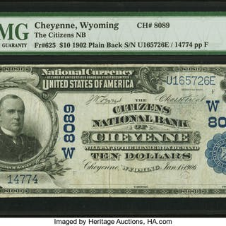 Cheyenne, WY - $10 1902 Plain Back Fr. 625 The Citizens NB Ch. # (W)8089