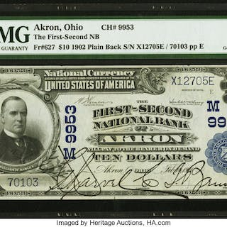 Akron, OH - $10 1902 Plain Back Fr. 627 The First-Second NB Ch. #