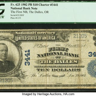 The Dalles, OR - $10 1902 Plain Back Fr. 625 The First NB Ch. # 3441