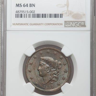 1834 1C Sm8 LgS ML, N-1, MS, BN