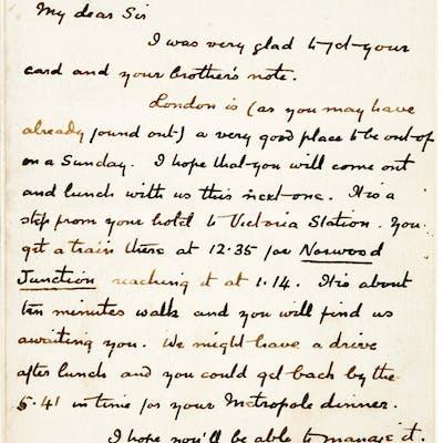 A. Conan Doyle. Autograph Letter, Signed. [London]: June 27, [18]92.
