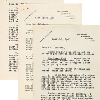 Freeman Wills Crofts. Three Typed Letters, Signed. Surrey: July 26