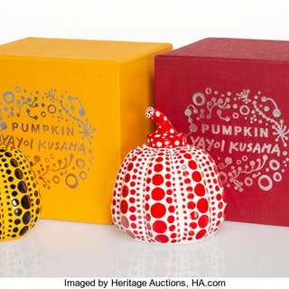 Yayoi Kusama X MoMA Red and Yellow Pumpkin (two works), n.d. Painted