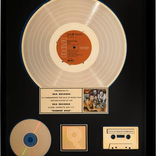 David Bowie Diamond Dogs RIAA Hologram Gold Sales Award (RCA, 1974).  ...