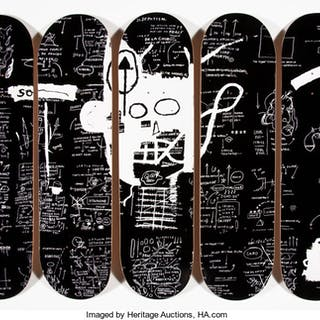 After Jean-Michel Basquiat X The Skateroom Demon, polyptych (five