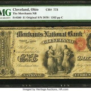 Cleveland, OH - $1 Original Fr. 380 The Merchants NB Ch. # 773 PMG Fine 12. ...