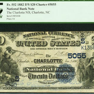 Charlotte, NC - $20 1882 Date Back Fr. 552 The Charlotte NB Ch. #
