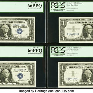 Fr. 1619 $1 1957 Silver Certificates. Twenty Consecutive Examples.