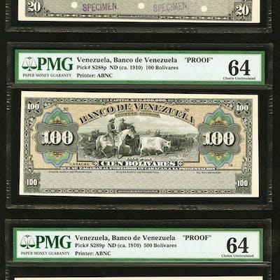 Venezuela Banco de Venezuela 20; 100; 500 Bolivares ND (ca. 1910)