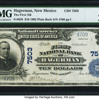 Hagerman, NM - $10 1902 Plain Back Fr. 628 The First NB Ch. # 7503