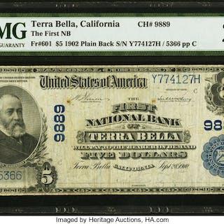 Terra Bella, CA - $5 1902 Plain Back Fr. 601 The First NB Ch. # 9889