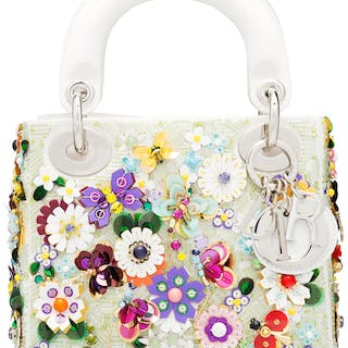 Christian Dior White Satin & Multicolor Flower Embellished Mini Lady