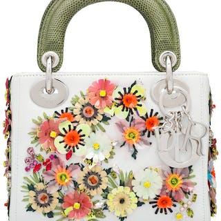 Christian Dior White & Green Flower Embellished Mini Lady Dior Bag