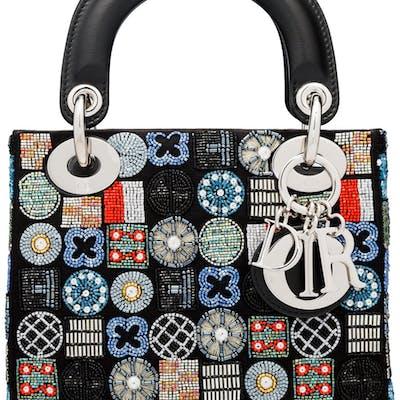 Christian Dior Black Satin & Multicolor Embellished Mini Lady Dior