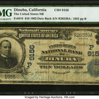 Dinuba, CA - $10 1902 Date Back Fr. 618 The United States NB Ch. #