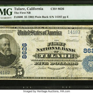 Tulare, CA - $5 1902 Plain Back Fr. 600 The First NB Ch. # 8626 PMG