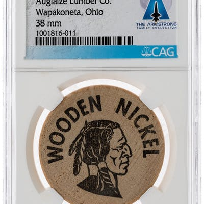 Wapakoneta: Auglaize Lumber Co. Wooden Nickel Directly From The Armstrong
