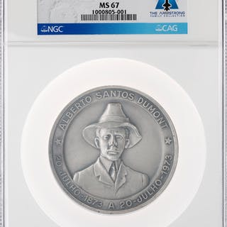 Medals: 1973-Dated Alberto Santos-Dumont Medal, MS67 NGC, Directly