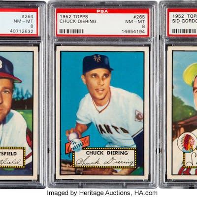 1952 Topps Baseball Psa Nm Mt 8 Graded Trio 3 Barnebys