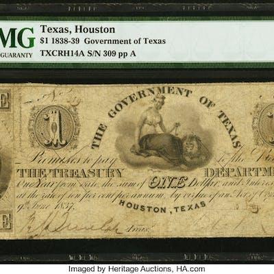 Houston, TX- Government of Texas $1 Feb. 10, 1839 Cr. H14A Medlar