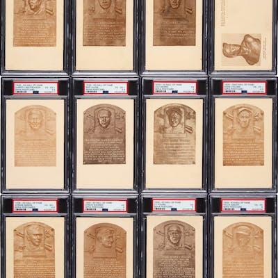1939-43 Hall Of Fame Sepia Postcard PSA Graded Near Set (34/35) Missing