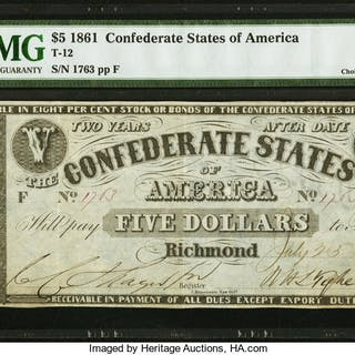 """Manouvrier. The legend """"Confederate States of America"""" and value."""