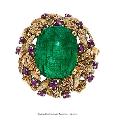 Emerald, Ruby, Gold Ring ...