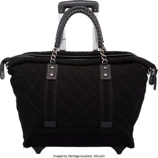 Chanel Black Quilted Canvas Rolling Shopping Tote Trolley Condition: