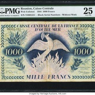 Reunion Caisse Centrale de la France d'Outre Mer 1000 Francs 1944