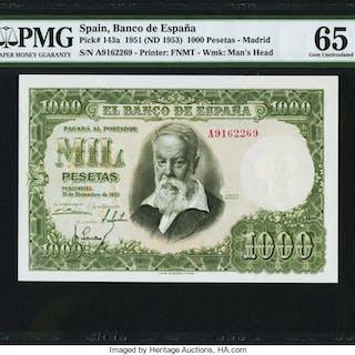 Spain Banco de Espana 1000 Pesetas 31.12.1951 (1953) Pick 143a PMG
