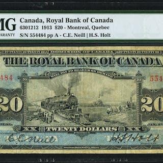 Canada Montreal, PQ- Royal Bank of Canada $20 2.1.1913 Ch.# 630-12-12
