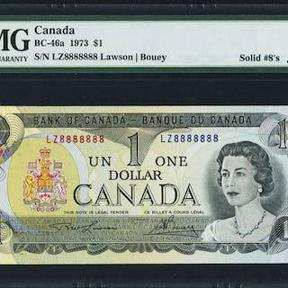 Canada Bank of Canada $1 1973 BC-46a Solid 8s Serial Number PMG Gem