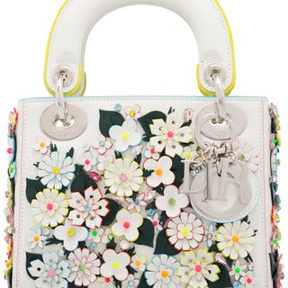 Christian Dior White Leather & Neon Flower Embellished Mini Lady Dior