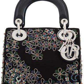 9bdff1b2b44e6b Christian Dior Black Satin & Silver Floral Beaded Mini Lady Dior Bag