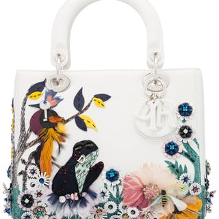 Christian Dior White Leather Bird, Frog & Bee Beaded Medium Lady Dior
