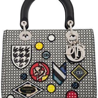 6cc58cf92c86aa Christian Dior Black & White Cannage Lace Crest Medium Lady Dior Bag