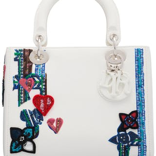 Christian Dior White Leather Heart & Flower Sequin Medium Lady Dior